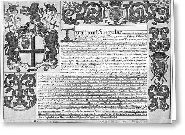 England Trade Charter Greeting Card by Granger