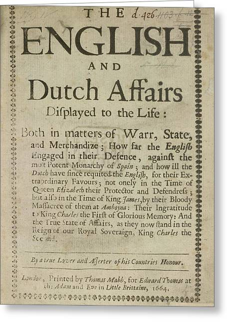 English And Dutch Affairs Greeting Card by British Library