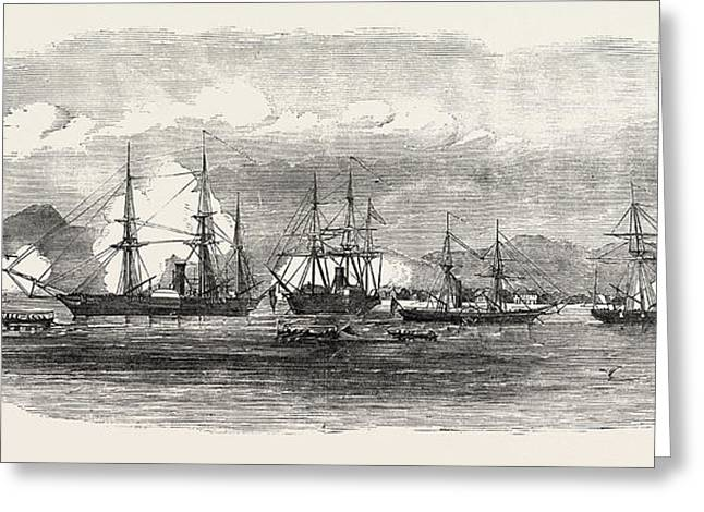 English And French Steamers In The Harbour Of Gonaive Greeting Card by Caribbean School