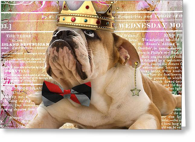 English Bulldog Bowtie Collection Greeting Card by Marvin Blaine