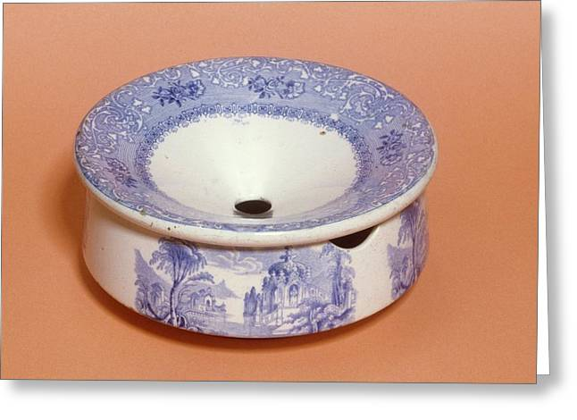 English Ceramic Spittoon Greeting Card by Science Photo Library