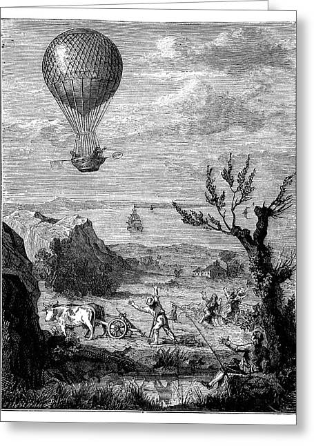 English Channel Balloon Crossing Greeting Card by Science Photo Library