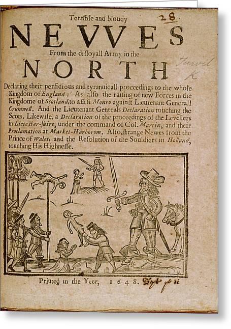 English Civil War Scene Greeting Card by British Library