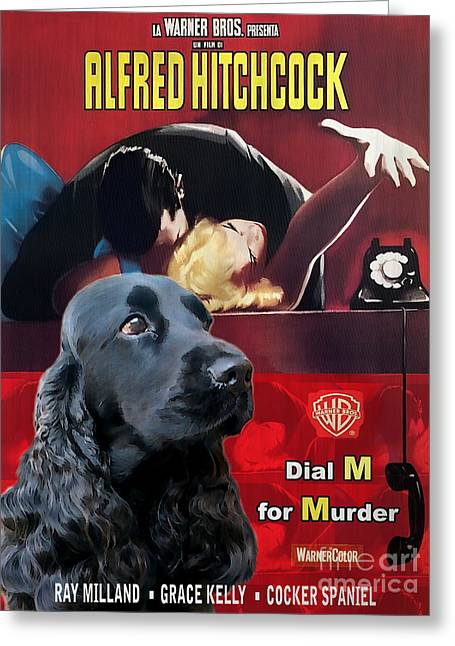 English Cocker Spaniel Art - Dial M For Murder Greeting Card