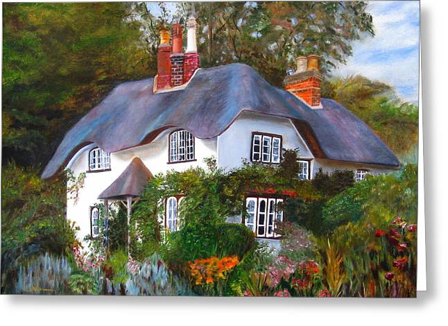 Greeting Card featuring the painting English Cottage by LaVonne Hand