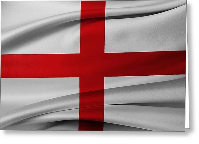 English Flag Greeting Card by Les Cunliffe