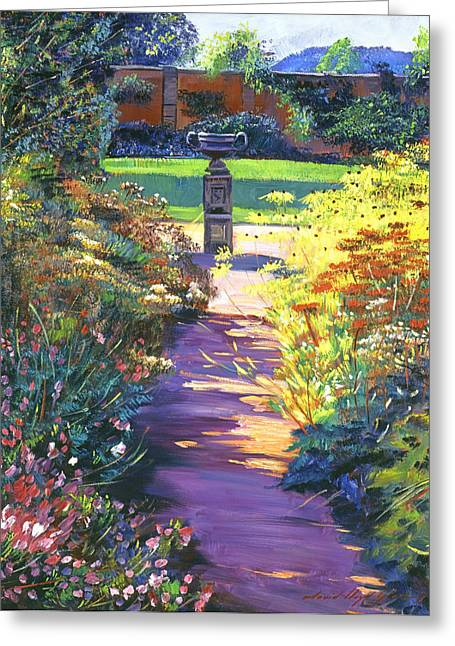 English Garden Urn Greeting Card by David Lloyd Glover