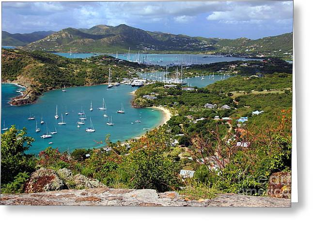 English Harbor View Greeting Card by Sophie Vigneault