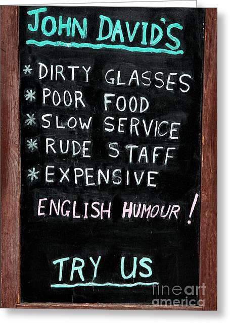 English Humor Greeting Card