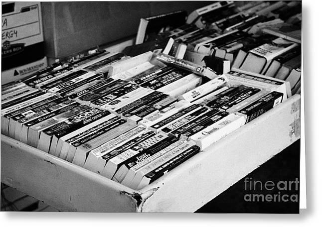 english language used books for sale on a stall Vancouver BC Canada Greeting Card by Joe Fox