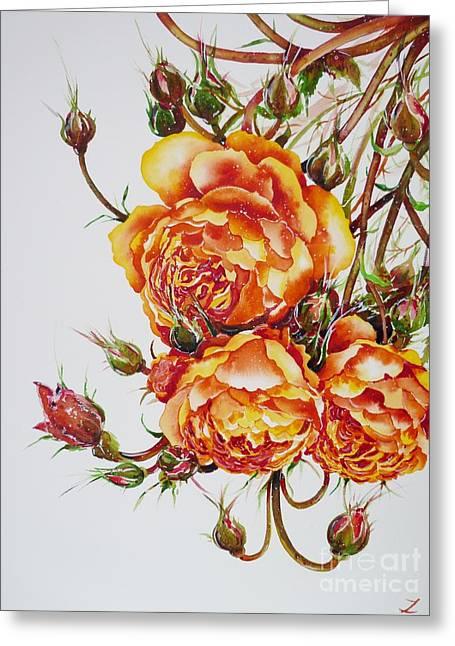 English Roses Greeting Card by Zaira Dzhaubaeva