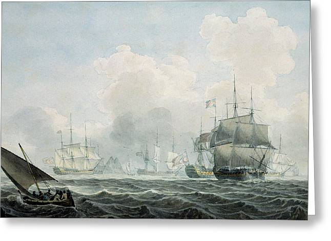 English Ships Of War Greeting Card by Robert Cleveley