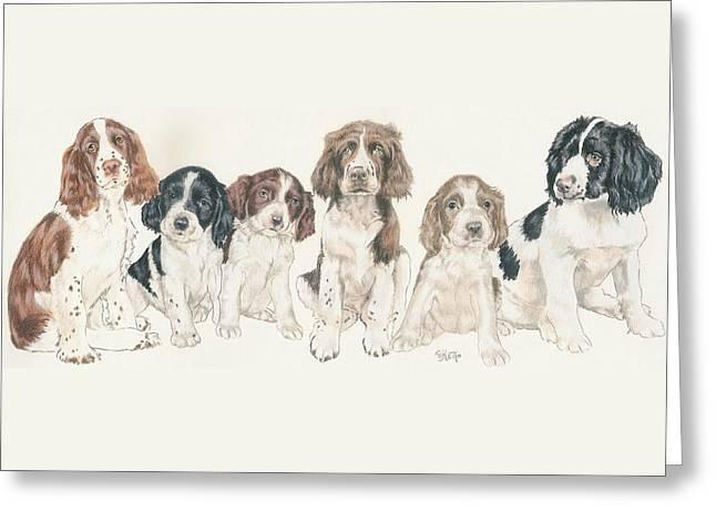 English Springer Spaniel Puppies Greeting Card