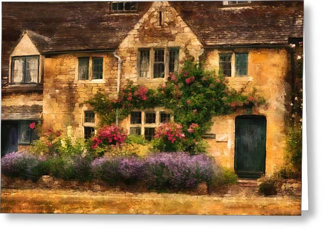English Stone Cottage Greeting Card
