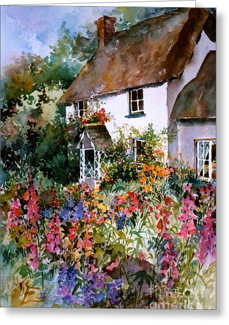 English Summer Cottage Greeting Card By Sherri Crabtree