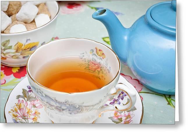English Tea Greeting Card by Tom Gowanlock