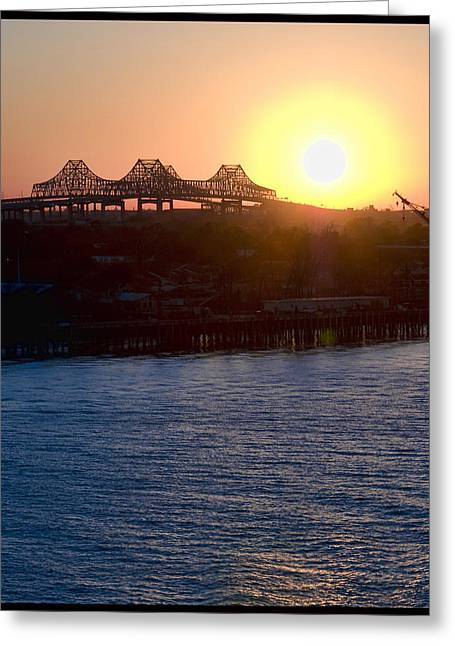 English Turn Sunset In New Orleans Greeting Card