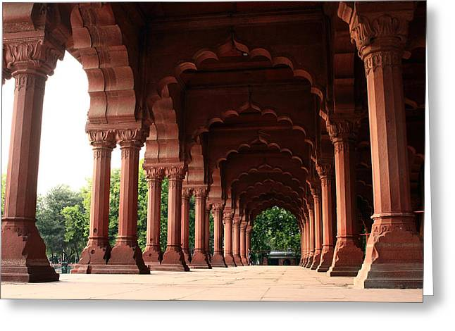 Engrailed Arches, Red Fort, New Delhi Greeting Card