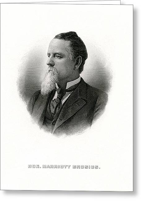 Engraved Portrait Of Rep Marriott H Brosius Greeting Card