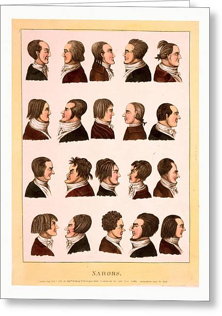 Engraving 1811, Profile Portraits Of 20 Men Greeting Card
