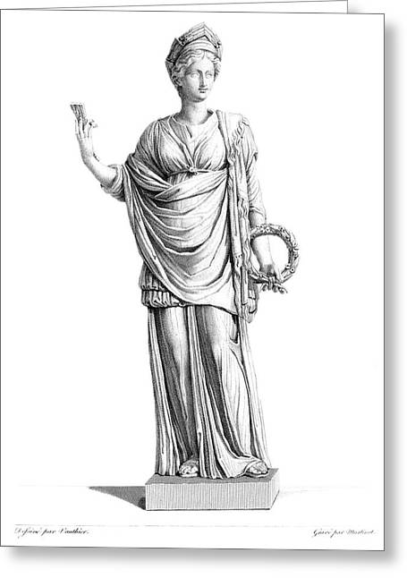 Engraving Marble Statue Ceres Roman Greeting Card