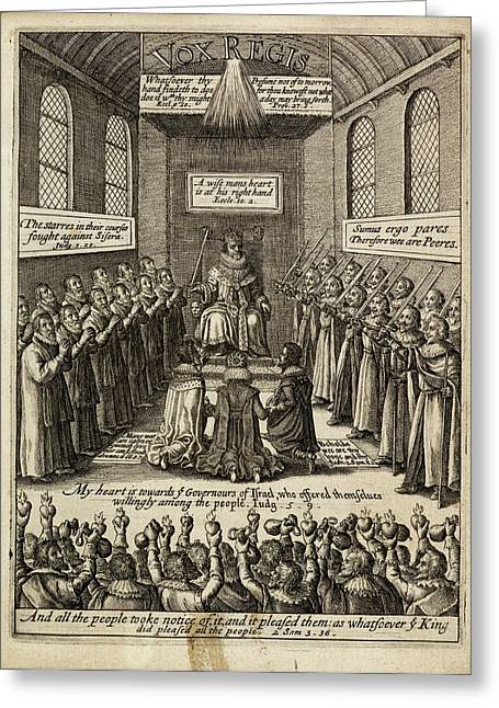 Engraving Of A King Enthroned Greeting Card