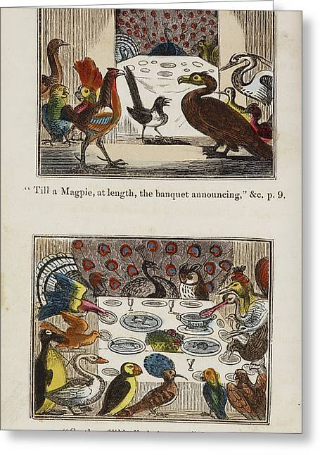 Engraving Of Birds In A Gathering Greeting Card