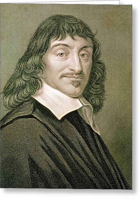 Engraving Of French Mathematician Rene Descartes Greeting Card