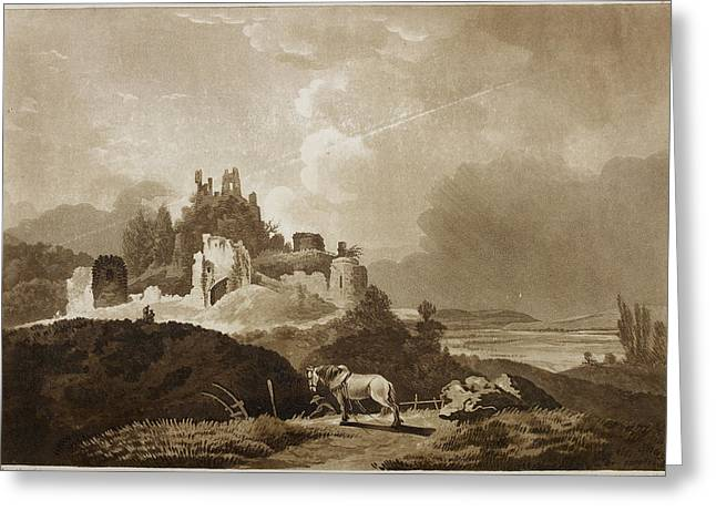 Engraving Of Wigmore Castle Greeting Card