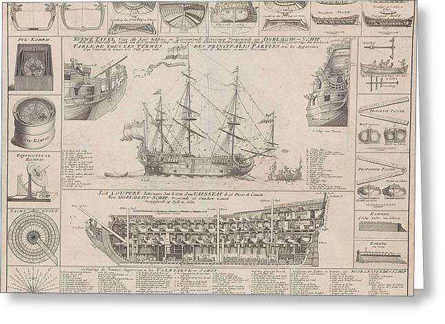 Engraving Showing Cross Sections Of A Warship Greeting Card