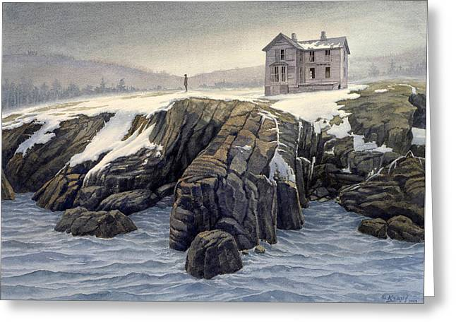 Enigma On The Shore Greeting Card by Paul Krapf