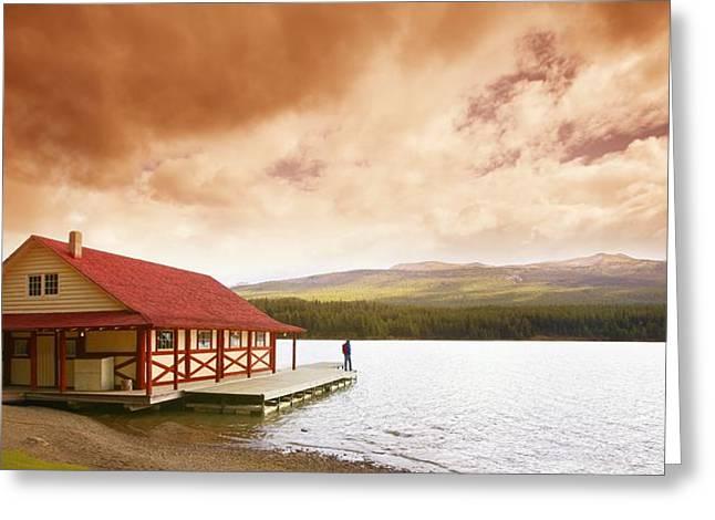 Enjoying A Mountain Lake View Greeting Card