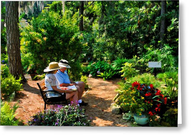 Loving Couple Enjoying Their Prayer Garden Greeting Card