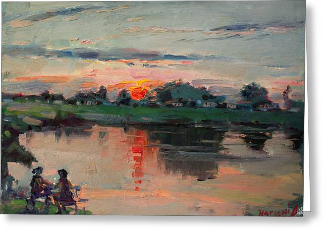 Enjoying The Sunset By Elmer's Pond Greeting Card by Ylli Haruni