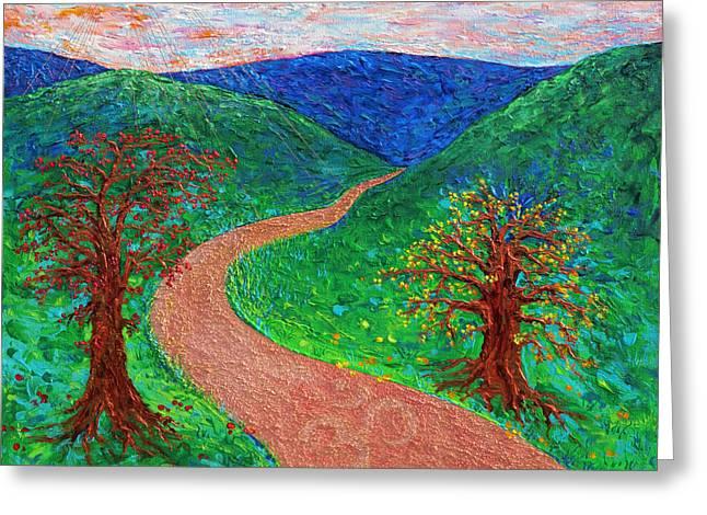 Enlightened Path Greeting Card by Julie Turner