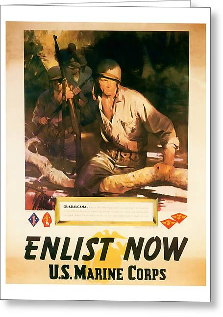 Enlist Now - World War 2 Art Greeting Card by Presented By American Classic Art