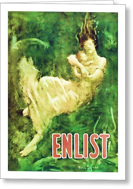 Enlist World War 1 Enlistment Art Greeting Card