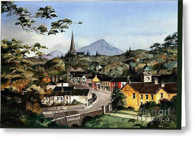 Enniskerry Panorama Wicklow Greeting Card by Val Byrne