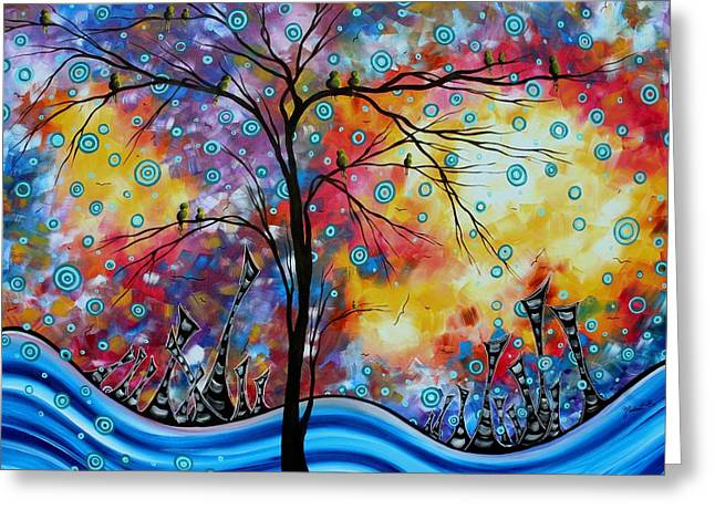 Enormous Whimsical Cityscape Tree Bird Painting Original Landscape Art Worlds Away By Madart Greeting Card by Megan Duncanson