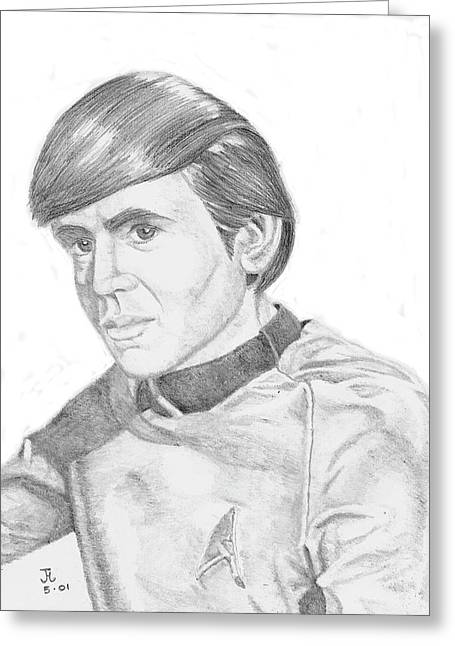 Greeting Card featuring the drawing Ensign Pavel Chekov by Thomas J Herring
