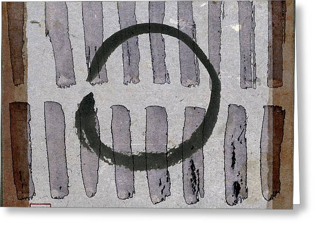 Enso Circle On Japanese Papers Greeting Card by Carol Leigh