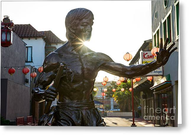 Enter The Dragon - Bruce Lee Statue In Chinatown. Greeting Card by Jamie Pham
