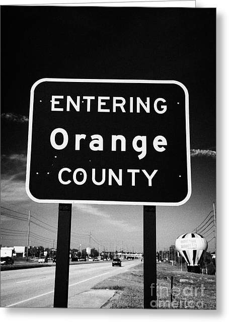 Entering Orange County On The Us 192 Highway Near Orlando Florida Usa Greeting Card by Joe Fox