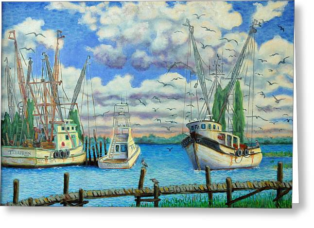 Entering Shem Creek Greeting Card by Dwain Ray