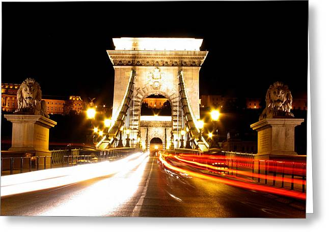 entering to the Chain Bridge- Budapest Greeting Card