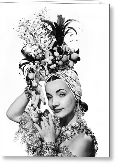 Entertainer Carmen Miranda Greeting Card by Underwood Archives