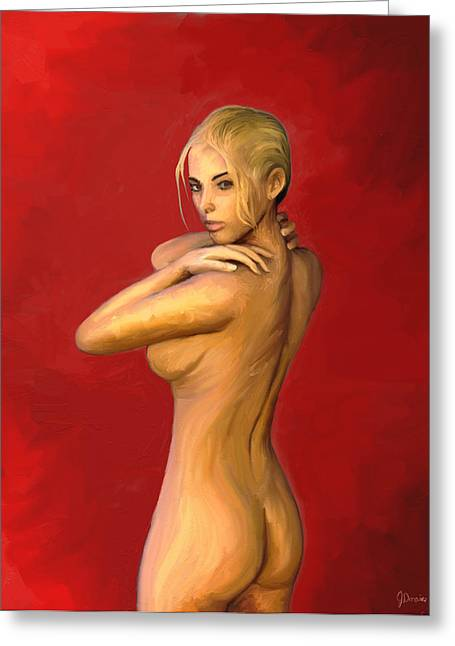 Entice In Red Greeting Card by Jason  Donaire