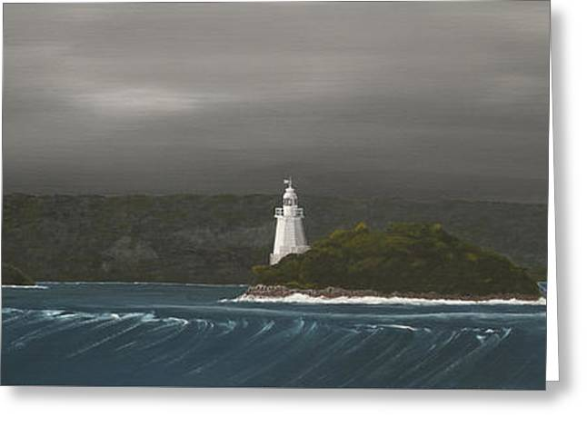 Greeting Card featuring the painting Entrance To Macquarie Harbour - Tasmania by Tim Mullaney