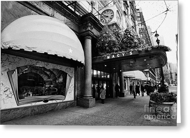 entrance to Macys department store on Broadway and 34th street at Herald square christmas Greeting Card by Joe Fox