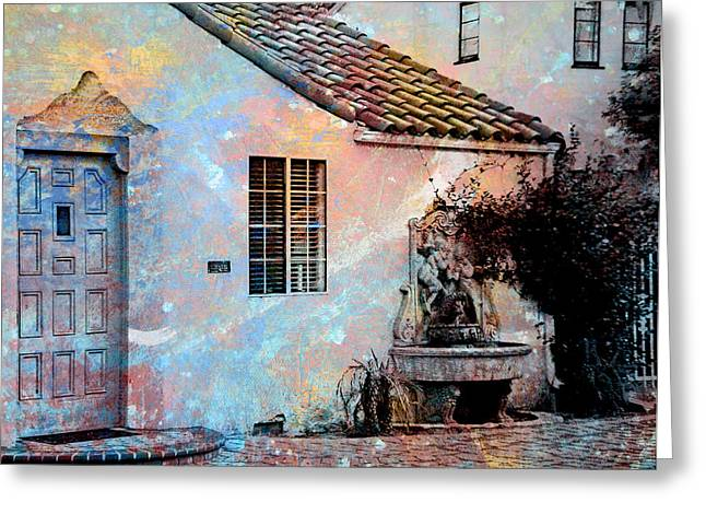 Greeting Card featuring the photograph Entrance To Stucco Spanish Style House by John Fish
